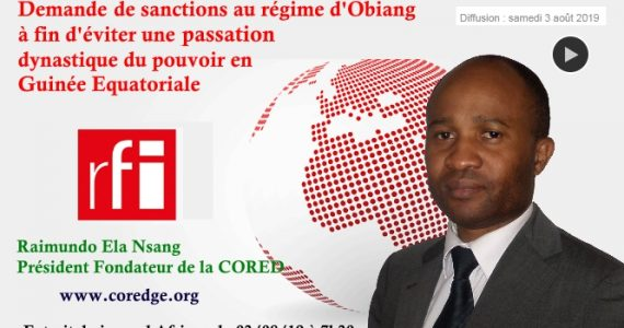 Raimundo ela rfi demande sanctions obiang opposant guinée Equatoriale